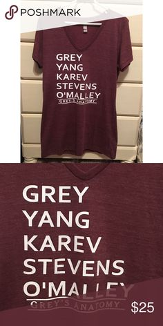 Grey's Anatomy Shirt Made to order! I will make anyone interested a Separate listing. Words are cut using high quality vinyl & pressed with a heat press. It is ladies fit, so please keep that in mind when buying. These shirts take about 3-5 days to make, so I will need the whole 7 days to ship. If that's not going to work for you please do not order one. The Greys anatomy design can also be put on a t-shirt instead of a v-neck to make it cheaper :) Tops Tees - Short Sleeve