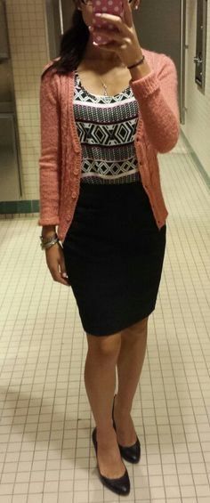 Business causal.  Love the pencil skirt and the chance to show off one of my handknit cardigans.