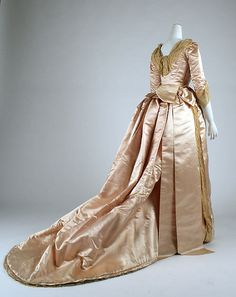 Evening ensemble Date: 1883–84 Culture: British Medium: (a, b, c) silk, cotton; (d, e) silk, leather