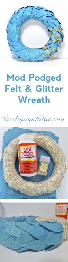 mod podged felt and glitter wreath by burlap+blue