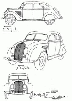 US Patent drawings for Carl Breer's 1934 Chrysler and DeSoto Airflows.