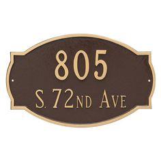 Montague Metal Cambridge 2-Line Estate Address Sign Wall Plaque - PCS-0054E2-W-BW