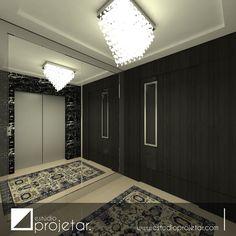 Hall Social super elegante projetado para um apartamento de 240m. A porta pivotante em madeira escura possui um puxador em aço inox e vidro pintado. Detalhe para o painel de espelho com moldura em aço inox polido.  #hall #apartamento #arquitetura #decoração #ambientação #estilo #decor #architecture #decoration #design #interiordesign #estudioprojetar  Obra: Bruno Alisson Mobiliário: Aguiar Móveis