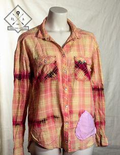 Pink plaid button down w/ Sewn on heart. $22.00 #wearableart #fashion #cotton #buttondown #plaid #bleached #heart #women