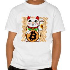 Bitcoin Maneki Neko Lucky Cat 04 T-shirt. Bitcoin, you can be your own bank. High resolution Bitcoin logo design just for you. Spread the word of Bitcoin, Vires in Numeris, Strength in Number people's choice crypto currency technology.