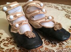 Adorable Antique Leather Two-Toned Child's Shoes, Perfect for Large Bisque Doll