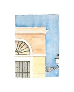 Watercolor print: Facade detail Old San Juan by estudioarbitrario