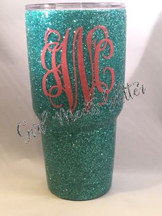 Glitter Dipped Yeti Rambler by GirlMeetsGlitter on Etsy Monogram Stickers, Monogram Cups, Yeti Cooler, Yeti Decals, Cute Cups, Yeti Cup, Tumbler Designs, Glitter Cups, Cup Design