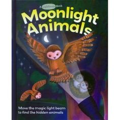"This is a unique book with a ""flashlight"" on every page. It is actually a white paper in the shape of a flashlight beam which you can move around, which allows you to see the nocturnal animals in their habitat. The animals are printed on a see-through plastic, and lay on top of a dark background; as you pass the white ""beam"" under the plastic, you can see the pictures. Neat effect! This one will get destroyed if I let it circulate, so it stays on the storytime room shelf for now!"