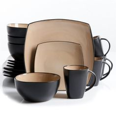 MEGA-69467.16-Gibson 69467.16 Dinnerware Set Soho Lounge Taupe Square Series 16 Pc (MEGA 69467.16) | RetailStores.com | Online Shopping for Home, Office & Outdoors and so much more
