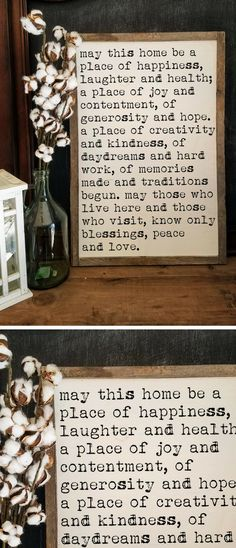 Lovely Farmhouse Home Motto Sign! {Davis Design Market} on Etsy! I love the typewriter font on this cutie, really unique and a nod to vintage times. Beautiful sentiments every family should remember and hold close to heart ... #farmhousedecor #farmhousesign #fixerupperdecor #vintagedecor #rustichomedecor #ad