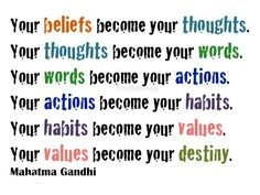 You  become who you think you are~ Gandhi