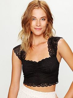 Scallop Edge Lace Crop top  Will have this in black and white! So cute