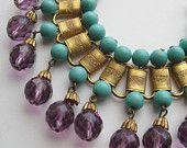 Vintage 50s Miriam Haskell Style Eqyptian Revival Gold Link Amethyst Glass Bead Designer Bracelet