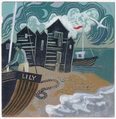 Blue Moon, lino print  Val Falla, Rye Society of Artists