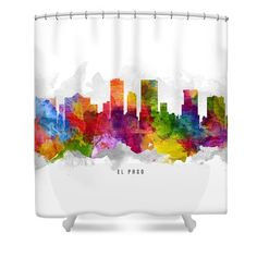 El Paso Texas Cityscape 13 Shower Curtain by Aged Pixel