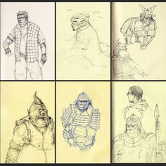 Some old sketchbook pages :) #art #artist  #in #instagram #instagood #instaart #drawing #sketchbook #samurai #monkey
