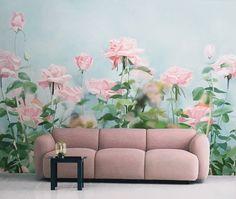 "Rose Garden Wallpaper Gouache Flower Wall Mural Art Aqua Marine Blue Green Pale Turquoise Pink Wall Decal Summer Home Decor 55.5"" x 33.8"" by DreamyWall on Etsy https://www.etsy.com/listing/278173964/rose-garden-wallpaper-gouache-flower"