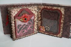 L side is a fold-down pocket, held closed by the little chain - has two mats inside for photos Mini Scrapbook Albums, Mini Albums, Clay Crafts, Paper Crafts, General Crafts, Memory Books, How To Make Paper, Creative Crafts, Prima Marketing