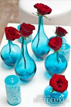 red roses, turquoise vases