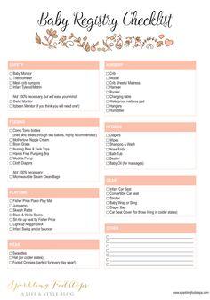 Baby Shower Registry Checklist  Baby Shower Registry Baby