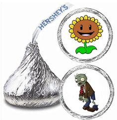 216 Plants Vs Zombies Hershey Kiss Stickers Labels Party Favors by Maestro -- Check out the image by visiting the link.Note:It is affiliate link to Amazon.