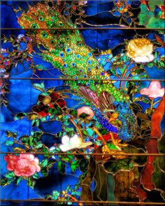 "John La Farge's     The tail feathers of the peacocks are made of bits of glass in the ""broken jewel"" technique; each peony blossom is a single piece of glass molded to catch the light differently through the day. La Farge layered the colored glass as a painter would build glazes of colors to achieve the right shade. For the composition, he borrowed from many cultures: the central panels with the bird and flower motif evoke Chinese and Japanese screens"