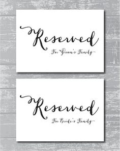 Reserved for Bride's family / Reserved for Groom's family - ceremony printable signs  INSTANT DOWNLOAD  Reserved for Family Signs 5x7 by CreativePapier, $8.00