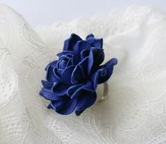 Blue leather rose flower ring by leasstudio on Etsy