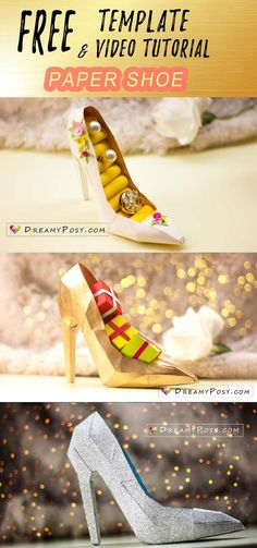 paper shoe template, paper 3D shoe, paper high heel shoe, free template, step by step video tutorial