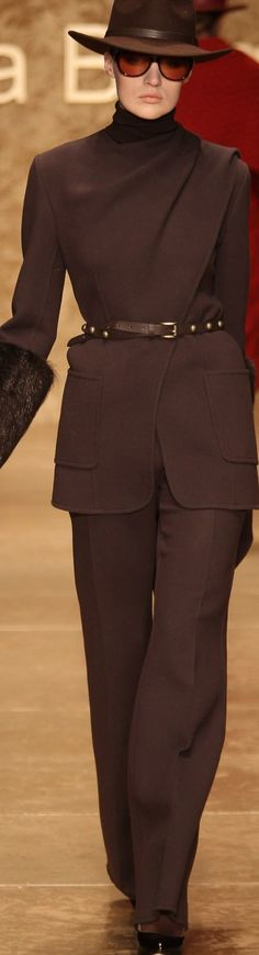 Laura Biagiotti. Strikes me as a little severe somehow, but I like it. I would add a large statement brooch at the shoulder.