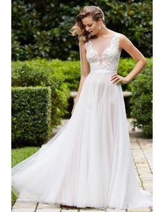 >> Click to Buy << Vestido De Noiva Plus Size Wedding Dresses A Line Chiffon Sheer Scalloped Hollow Back Sweep Train Pleats Bridal Gowns Dress 2016 #Affiliate
