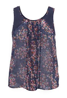 pleated front floral print chiffon plus size tank (original price, $32) available at #Maurices