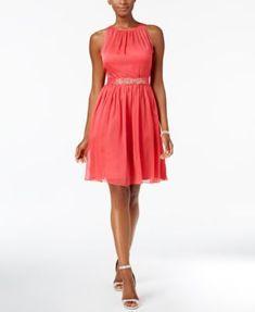Adrianna Papell Belted Chiffon Halter Dress - Tan/Beige 18