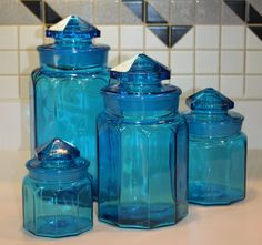 Gentil Donu0027t Let This One Slip Away ~ Vintage L.E. Smith Four Piece Blue Glass  Canister Jar Set, Mid Century Kitchenware