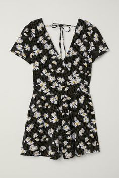 Playsuit - Black/White floral - Ladies | H&M 4