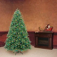 GE iTwinkle 7.5-ft Pre-Lit Pine Artificial Christmas Tree with 500 ...