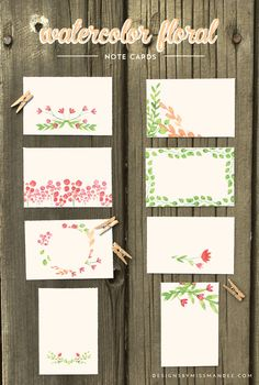 Truly Lovely Free download Watercolor Floral Note Cards - Designs By Miss Mandee