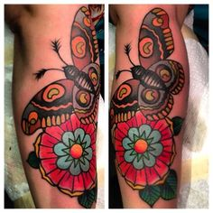 moth and flower by greg christian #tattoos