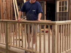 How to Install Deck Railings and Balusters : How-To : DIY Network With the deck floor complete, build custom railings. The decks support posts serve as mounts for the new railing system. Wood Deck Railing, Deck Balusters, Deck Railing Design, Balustrades, Deck Design, Metal Deck, How To Build Porch Railing, Deck Railing Ideas Diy, Front Porch Railings