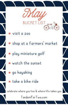bucket list ideen May Bucket List from Tandem For Two Tandem, Monthly Celebration, Calendar Girls, Life List, Summer Bucket Lists, Planner Organization, Organizing, Months In A Year, Design Quotes