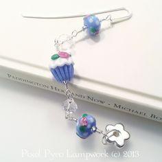 Ditsy Rose Cupcake lampwork beaded bookmark. £15.00