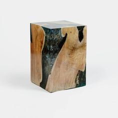 resin and teak side table by andrianna shamaris