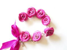 anniversary gift Flower bracelet Purple by NYLeatherRose 3rd Anniversary Gifts, Summer Gifts, Flower Bracelet, Purple Leather, Jewelry Making Supplies, Roses, Colorful, Bracelets, Flowers