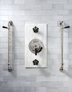 Industrial yet luxurious, Regulator nickel shower fittings paired with our magma tile (made from lava) in white creates a striking shower design. Gray and white bathroom design, shower design, spa like shower. Modern Bathroom, Small Bathroom, Bathroom Ideas, Master Bathroom, Bathroom Designs, Minimalist Bathroom, Bathroom Storage, Gray And White Bathroom, White Bathrooms