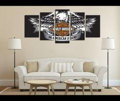 5 Panels HD Prints Motorcycle Harley Davidson Canvas Vehicle Wall Art Deocr
