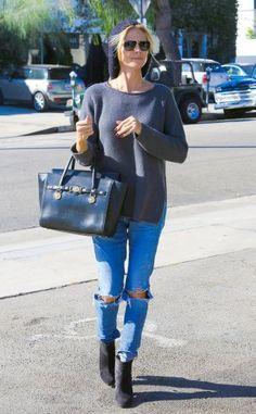 Heidi Klum mit Zipper-Pullover