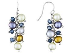 6-7mm Peacock, Green, Silver, Chocolate Cultured Fw Pearl Blue Crystal Bead Sterling Silver Earrings