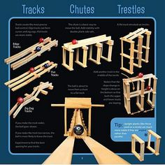 KEVA Planks - Tracks/Chutes/Trestles Pictures are a good way to get started with KEVA planks. Once kids get going, they can make all sorts of their own designs. Challenge Images, Plank Challenge, Stem Activities, Summer Activities, Rube Goldberg Machine, Wooden Building Blocks, Wooden Buildings, Stem For Kids, Stem Projects