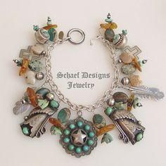 Turquoise Amber Squash Blossom Texas Star Southwestern Charm Bracelet